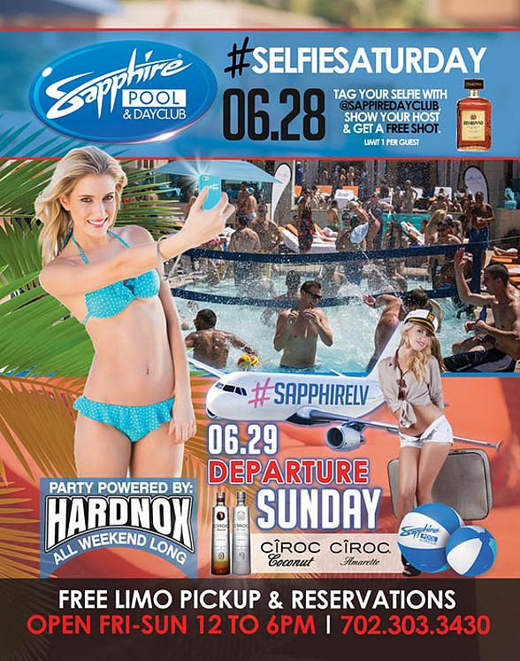Party at Sapphire Pool & Day Club on #SelfieSaturday, June 28 and Departure Sunday, June 29