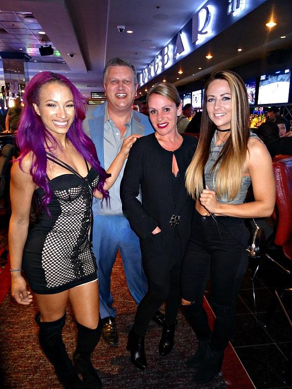WWE Sasha Banks with the D owner Derek Stevens and wife Nicole Parthum with Emma at the D Casino Hotel Las Vegas