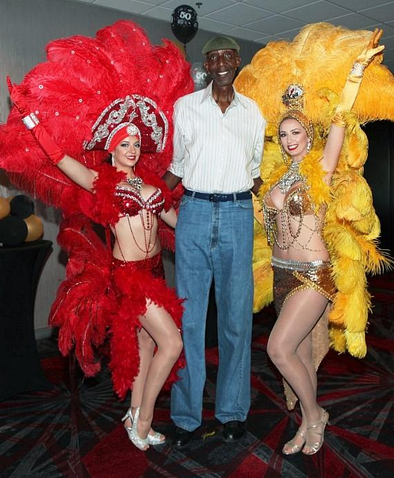 Seven Foot Eight George Bell with Vegas Showgirls at The D Casino Hotel