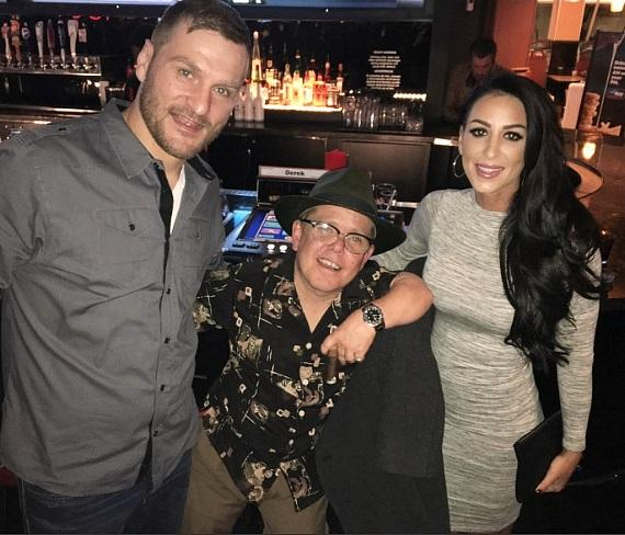 """Pit Boss"" star Shorty Rossi (c) with UFC Heavyweight Stipe Miocic and fiance Ryan Marie Carney at The Longbar in the D Las Vegas"