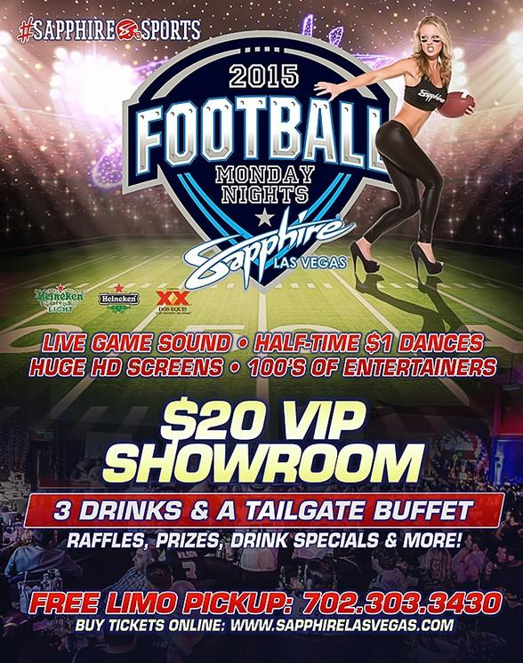 Sapphire hosts Houston Texans vs. Cincinnati Bengals Monday Night Football with $1 Halftime Dances Nov. 16