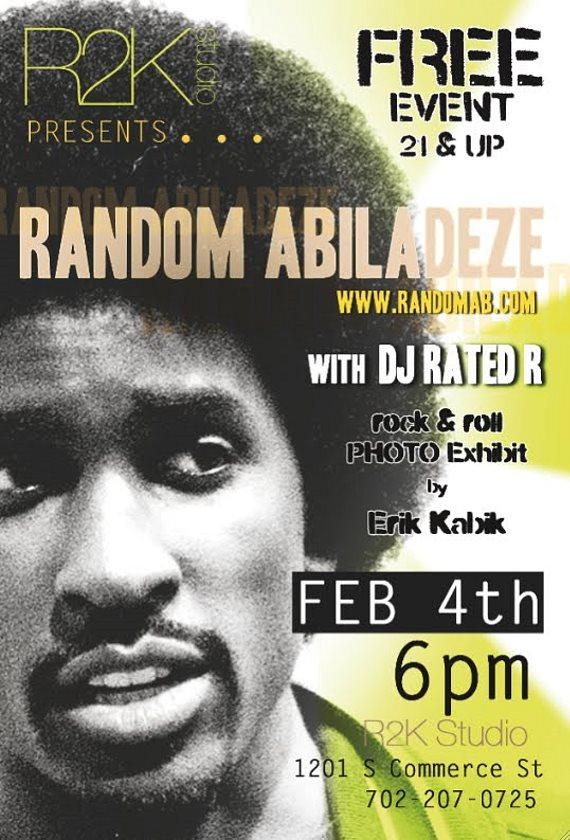 """Art of Music @ R2K Studio"" with Musician Random Abiladeze and Rock Photographer Erik Kabik on Friday, Feb. 4"