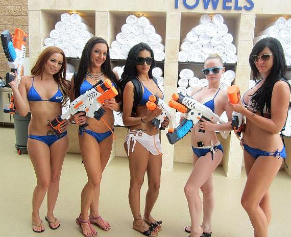 Sapphire Pool Club staff with water guns