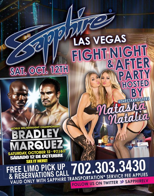 """Fight Night Viewing Party Sapphire: Watch """"Bradley vs Marquez"""" World Welterweight Championship on PPV Oct. 12"""