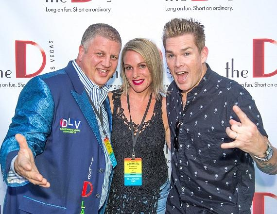 Sugar Ray singer Mark McGrath (r) with the D Casino Hotel owner Derek Stevens (l) and wife Nicole Parthum at DLVEC Las Vegas