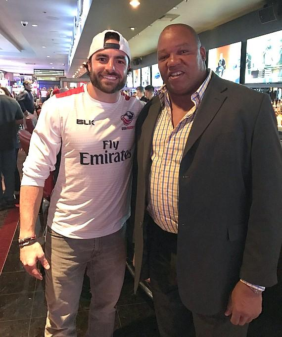 Superbowl Champion NFL Nate Ebner of the New England Patriots with the D host NHL Hockey Darren Banks at the D Casino Hotel Las Vegas