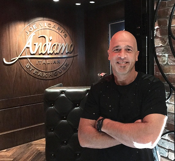 """Tanked"" reality star Brett Raymer enjoyed dinner at Andiamo Italian Steakhouse in Las Vegas"