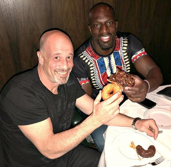 """""""Tanked"""" star Brett Raymer with WWE Icon Titus O'Neil at Andiamo Italian Steakhouse in the D Casino Hotel"""