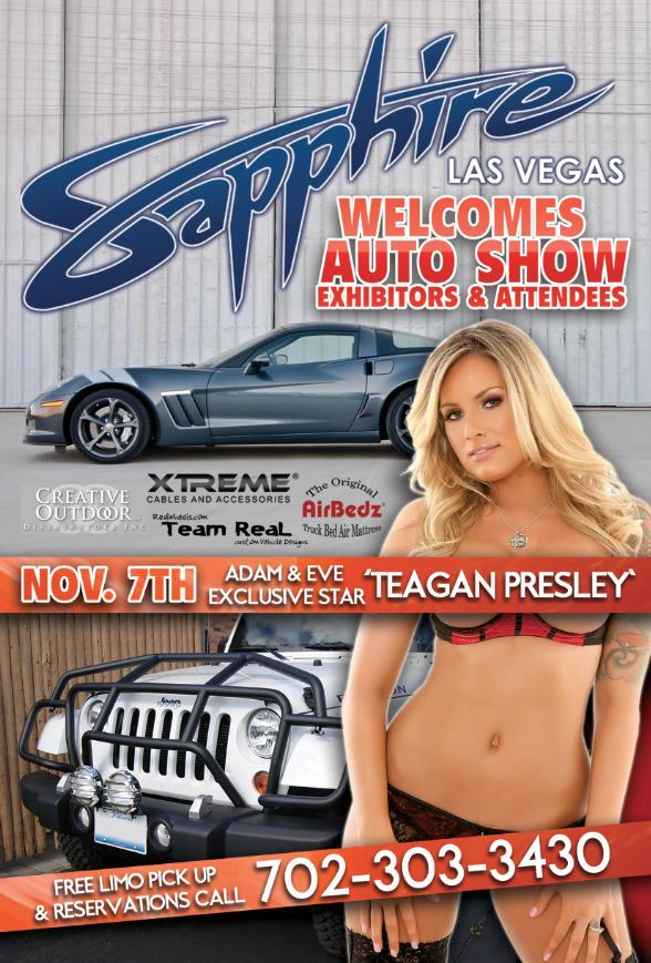 Sapphire Welcomes Auto Show Exhibitors & Attendees - Tonight! Nov. 7 - Hosted by Teagan Presley