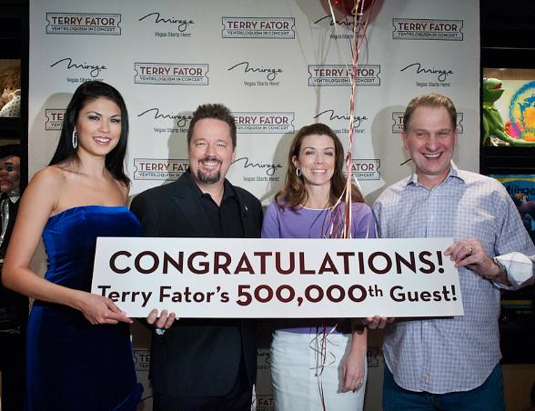 """Mirage Headliner Terry Fator Greets 500,000th Guest at """"Terry Fator: Ventriloquism in Concert"""""""