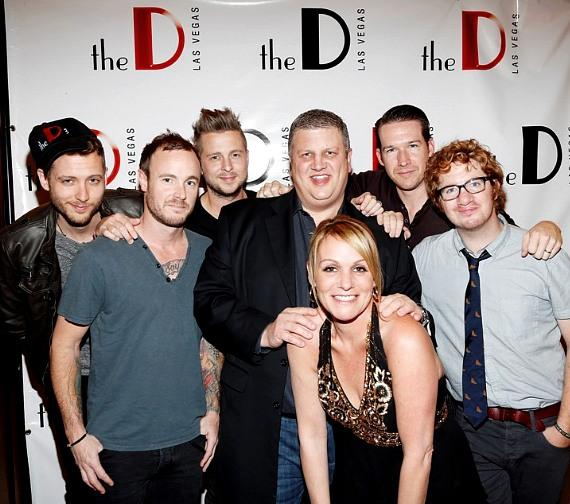 the D Las Vegas Owner and CEO Derek Stevens and girlfriend Nicole Parthum pose with OneRepublic