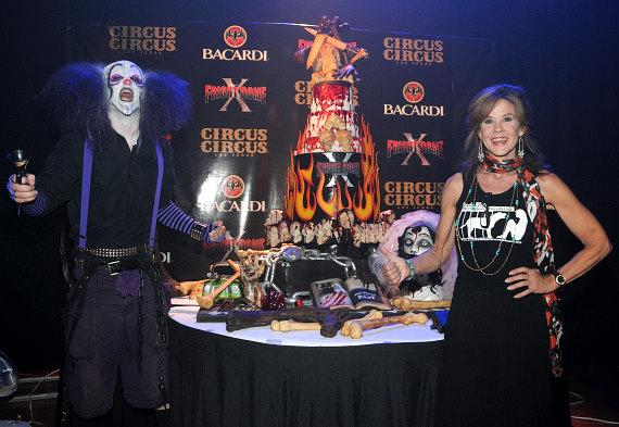 Fright Dome actor and Linda Blair pose with 10th Anniversary cake