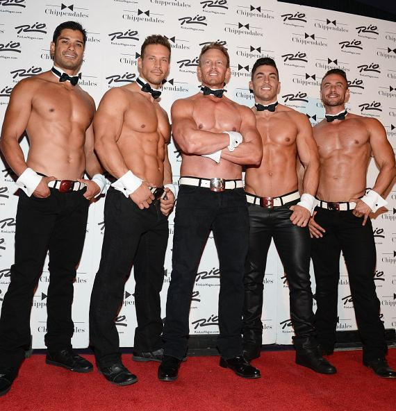 Ian Ziering with Chippendales dancers at Rio All-Suite Hotel and Casino