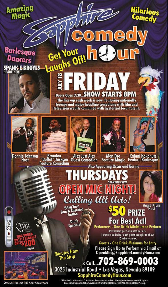 Spank E Broyls to Headline Sapphire Comedy Hour at Sapphire Las Vegas on Friday, July 18