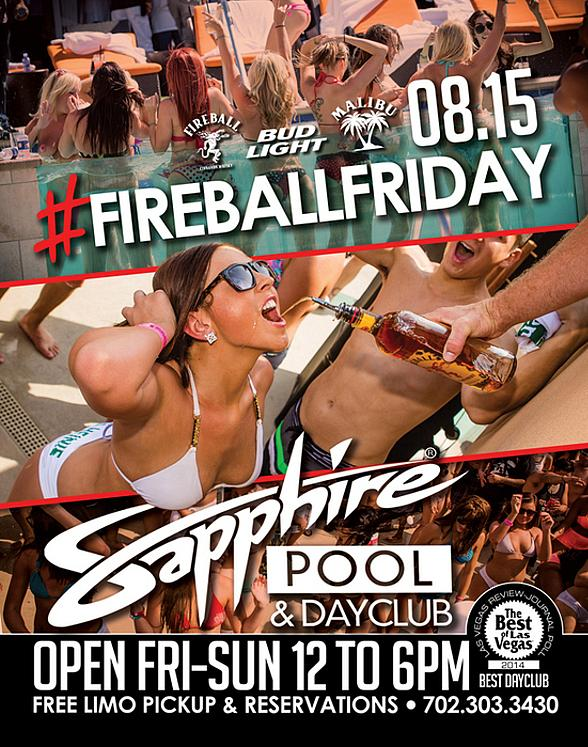 Sapphire Pool & Day Club to Host Fireball Friday Aug. 15