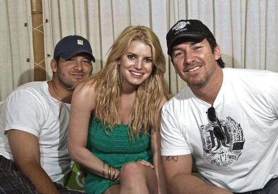 NFL Tony Romo, singer Jessica Simpson and Richard Wilk in Las Vegas