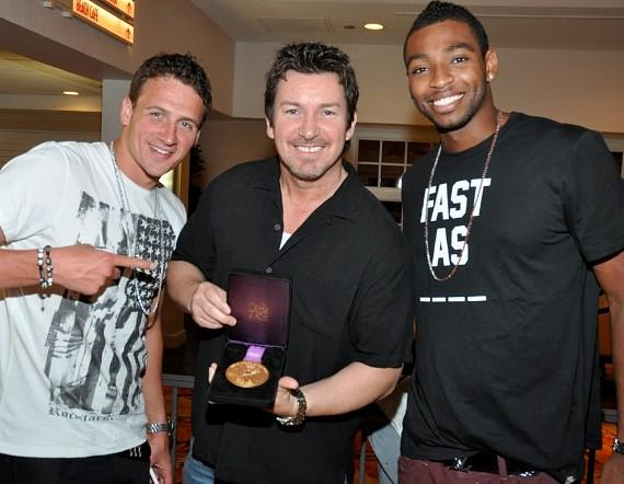Olympic Medalists Ryan Lochte and Cullen Jones and Richard Wilk with Gold Medal