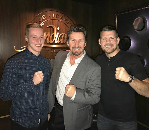 UFC Champ Michael Bisping with son Callum Bisping and the D Executive Richard Wilk (c) at Andiamo Las Vegas
