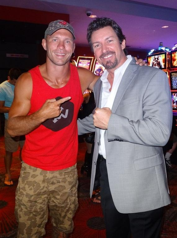 "UFC 202 winner Donald ""Cowboy"" Cerrone with the D Casino Hotel Director Richard Wilk"
