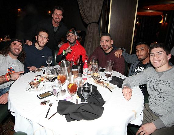 UFC fighters Clay Guida, Cody Garbrandt, Danny Castillo with the D Execeutive Richard Wilk at Andiamo Italian Steakhouse inside the D Casino Hotel Las Vegas