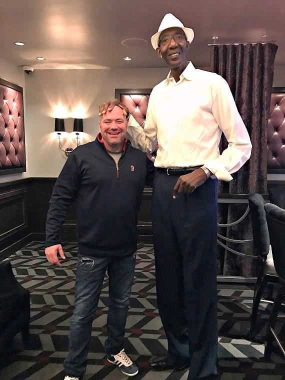 UFC President Dana White with George Bell, the Guinness World Records holder for USA's second tallest man