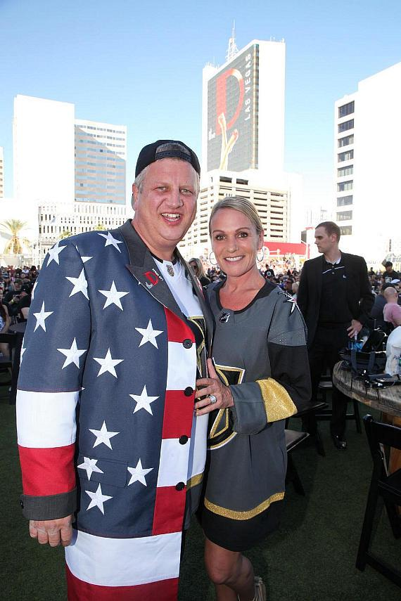 Owner of DLVEC and the D Las Vegas, Derek Stevens, and his wife, Nicole at Vegas Golden Knights Official Watch Party at Downtown Las Vegas Events Center