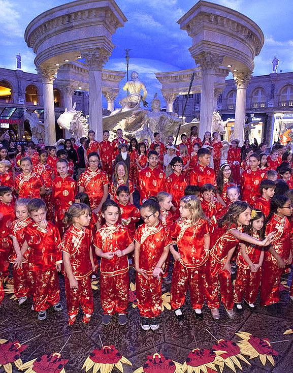 Meadows School Student Parade and Giant Illuminated Dragon Kick Off Chinese New Year Celebration at the Forum Shops at Caesars Palace Feb 5