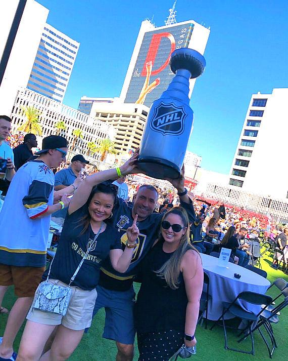 Fans at Vegas Golden Knights Official Watch Party at Downtown Las Vegas Events Center