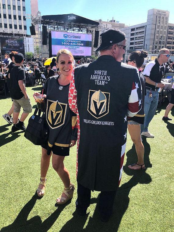 Owner of DLVEC and the D Las Vegas, Derek Stevens, and his wife, Nicole