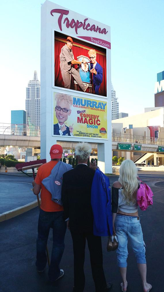 Lefty, Murray and Chloe take a final look at the Tropicana signage for MURRAY 'Celebrity Magician'