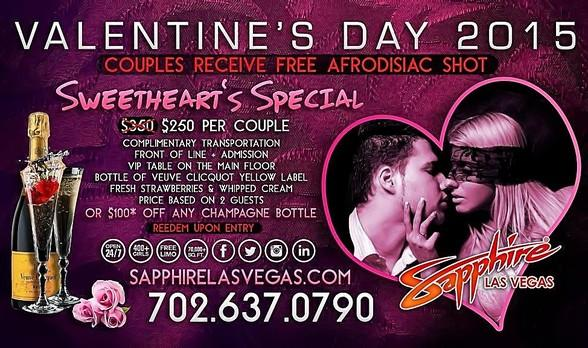 Sapphire Las Vegas offers Sweetheart's Special for Valentine's Day February 14