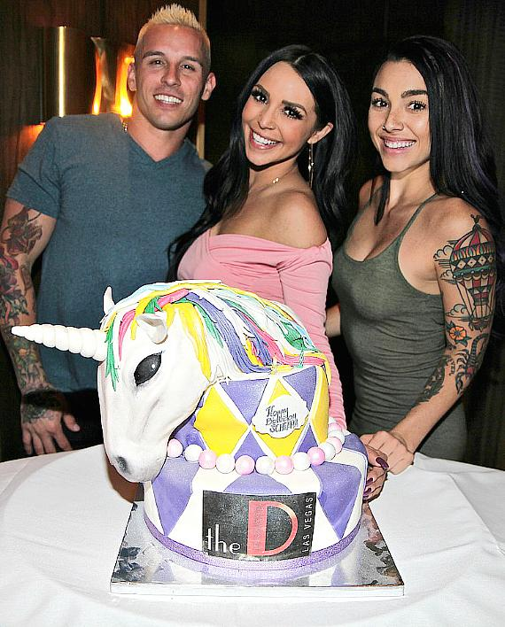 """Vanderpump Rules"" star Scheana Marie with Kailah Casillas and MikeyP with Birthday Cake at Andiamo Italian Steakhouse inside the D Las Vegas"