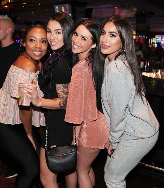 """Vanderpump Rules"" Scheana Marie Shay with MTV's Kailah Casillas and singer Nouri at LONGBAR inside the D Las Vegas"