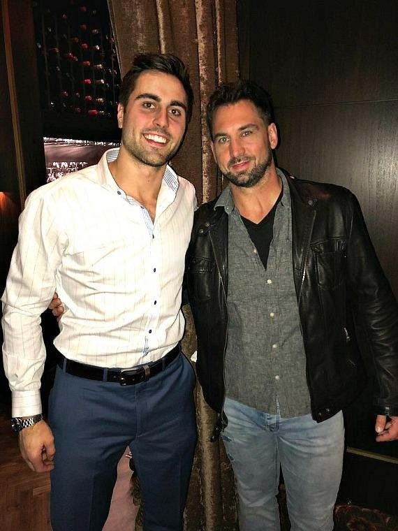 Vegas Golden Knight Alex Tuch with broadcaster Shane Hnidy at Andiamo Italian Steakhouse inside the D Las Vegas