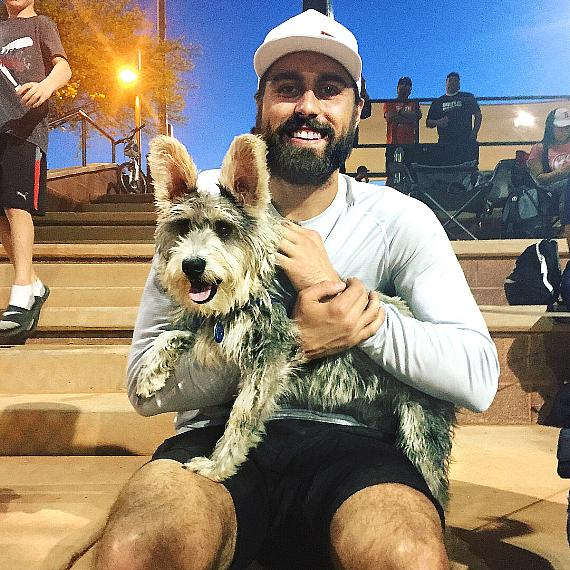 Vegas Golden Knights player Alex Tuch loves dogs as seen with Scout The Schnauzer