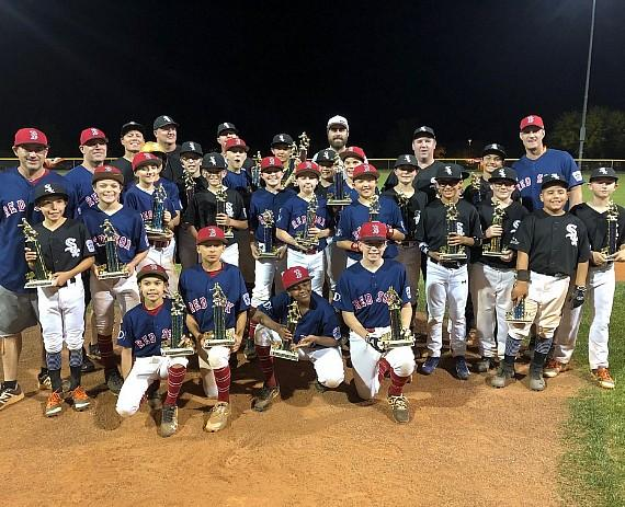 Vegas Golden Knights player Alex Tuch with Summerlin South Little League Majors 1st and 2nd Place Teams in Las Vegas
