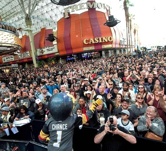 Vegas Golden Knights Chance hyping up the crowd at Fremont Street Fan Fest