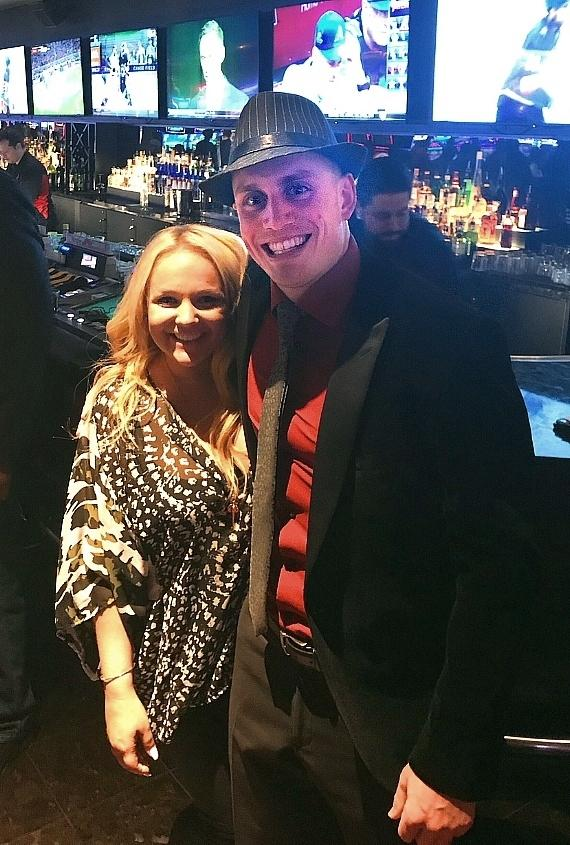 Executive Host Whitney with Vegas Golden Knights player Nate Schmidt at the D Casino Hotel Las Vegas