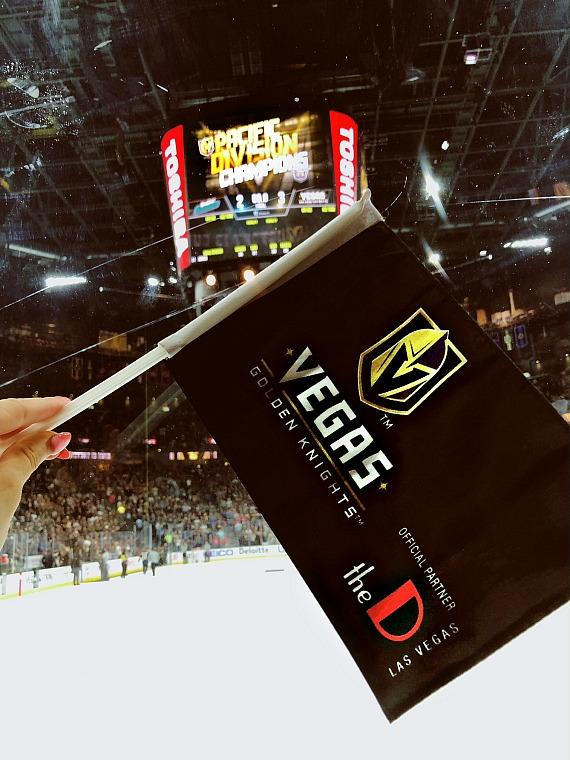 Vegas Golden Knights playoff car flag with Official Partner the D Casino Hotel