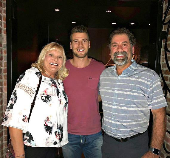Vegas Golden Knights Shea Theodore with his parents at Andiamo Italian Steakhouse