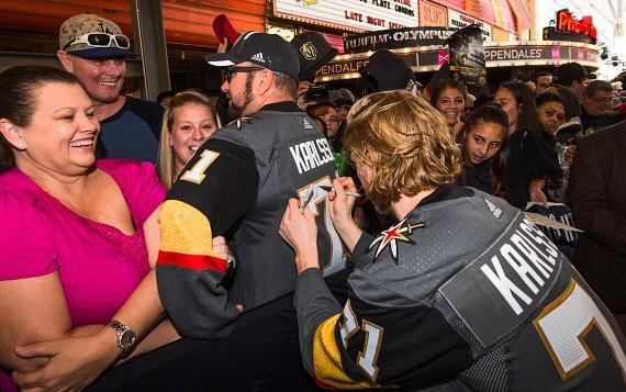 Vegas Golden Knights William Karlsson signing fans jersey at Fan Fest on Fremont Street