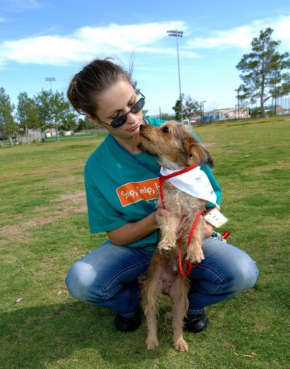 "Volunteer Laree Bice with ""Toto"" at the Forever Home Picnic to Benefit the Lied Animal Foundation"