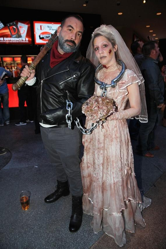 "Walking Dead ""Negan"" and Zombie at the D Casino Hotel on Halloween 2016 in Las Vegas"