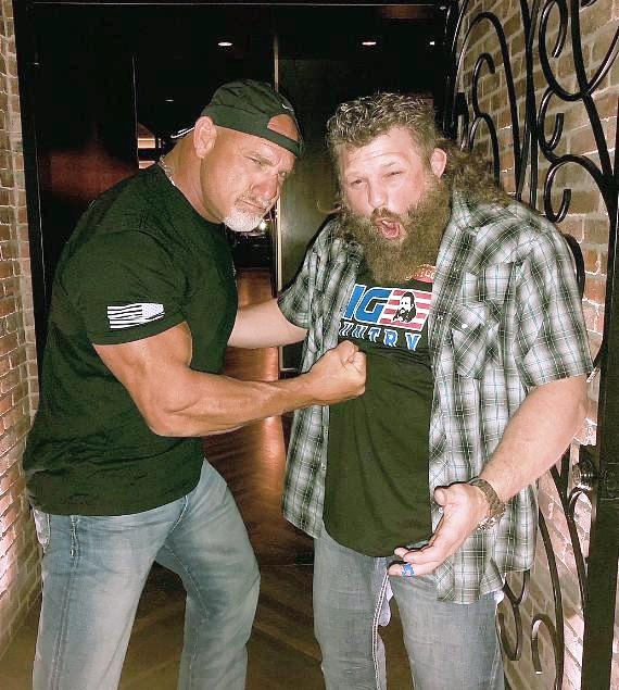 "Wrestling Legend Bill Goldberg and UFC/MMA Fighter Roy ""Big Country"" Nelson at Andiamo Italian Steakhouse inside the D Casino Hotel Las Vegas"