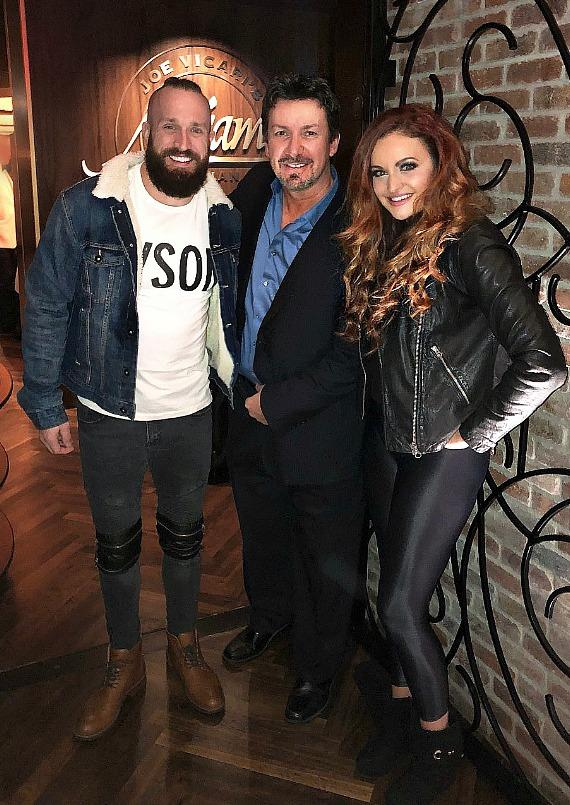 WWE couple Maria and Mike Kanellis with Richard Wilk at Andiamo Italian Steakhouse