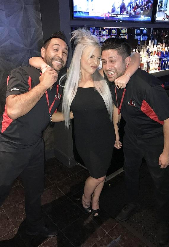 WWE Dana Brooke has fun with LONGBAR Flair Bartenders at The D Casino Hotel Las Vegas