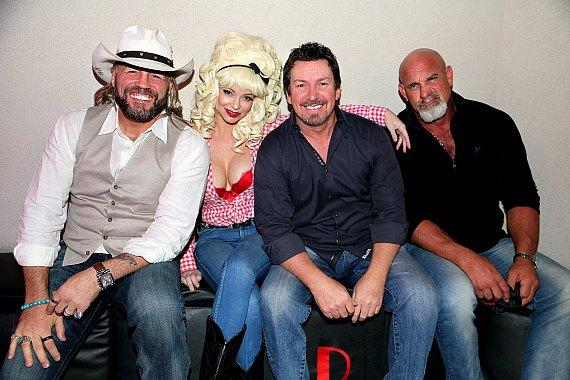 MMA Legend Randy Couture with actress Mindy Robinson, the D Executive Richard Wilk and WWE Bill Goldberg at Andiamo Las Vegas on Halloween 2018