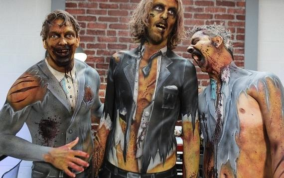 Zombies painted by bodypaint artists on Naked Vegas